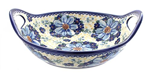 Polish Pottery Daisy Surprise Deep Bowl with Handles