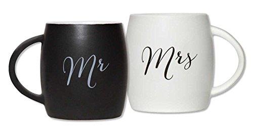 CR Gibson True Love Stoneware Coffee Mug Set Mr and Mrs BlackWhite