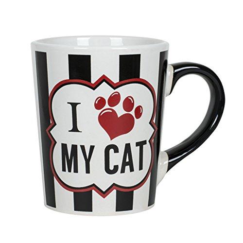 I Love My Cat Black and White 20 oz Ceramic Stoneware Coffee Mug