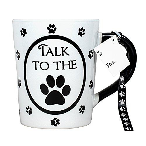 Talk to the Paw Pawprints 20 oz Ceramic Stoneware Coffee Mug