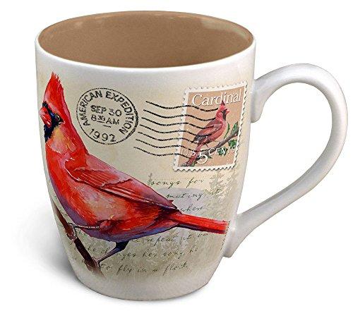 Vintage Bird Series 14oz Stoneware Coffee Mug Northern Cardinal Postcard