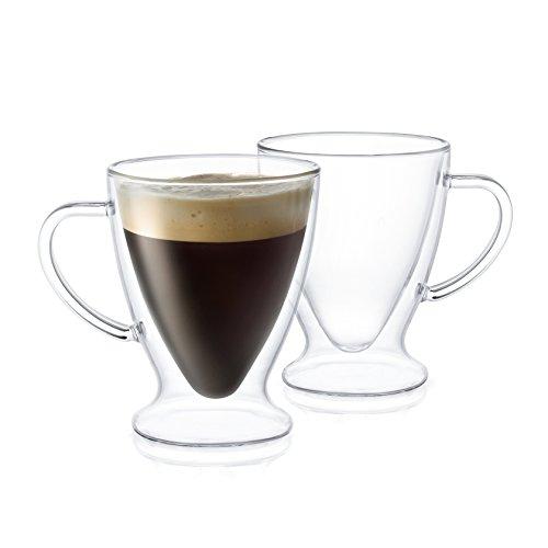 JoyJolt Declan Irish Double Wall Insulated Glass Espresso Mugs Set of 2 -5-Ounces
