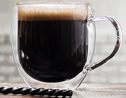 Palais Glassware Cafe Espresso Double walled Mugs - Set of 2 12 Ounces