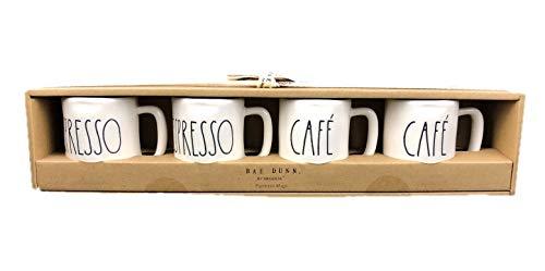 Rae Dunn Magenta set of 4 espresso mugs ceramic long letter ESPRESSO CAFÉ