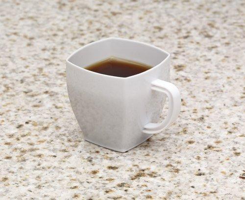 Zappy Square 2 Oz Mini Coffee Espresso Cappuccino Mugs 24 Ct Small Dessert Shot Glasses Party Wedding Cups Disposable Plastic Mug White