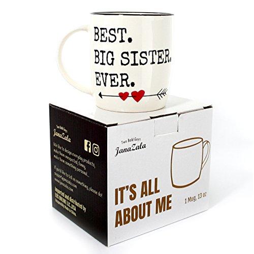 Janazala Best Big Sister Ever Mug Birthday Gift Idea For Sister Christmas Gifts For Big Sister Funny Coffee Mugs Gifts Christmas Gifts For Big Sister Ceramic 13 oz Cup