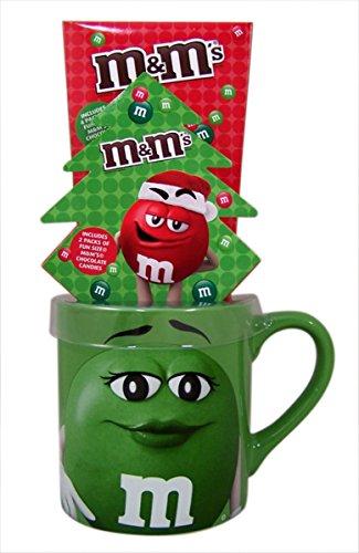 M&Ms Ceramic Christmas Coffee Mug Gift Set with Chocolate Candies Green
