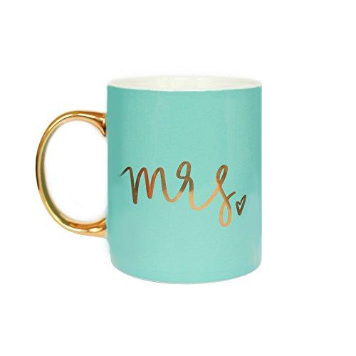 Mrs Coffee Mug Gold Foil Coffee Mug Mint Mug Gift For Her Gift For Bride Wedding Gift Wedding Present Engagement Gift Engaged Mug Tea Cup