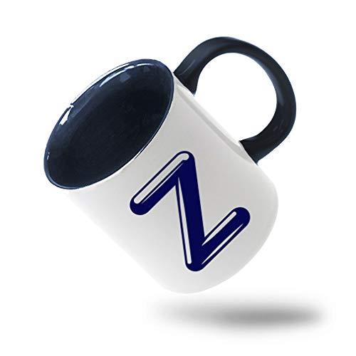 Colorful Coffee Mug NavyZ Chrome Initial Monogram Letter Z Ceramic Tea Cup 11 Oz Blue Inner Handle