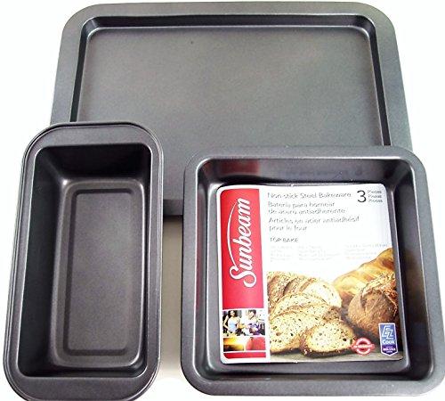 Sunbeam EZ Cook Non-Stick Steel 3 Piece Bakeware - Loaf pan Square Baking Pan Cookie Sheet