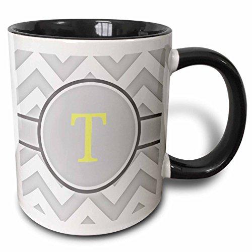 3dRose Grey and white chevron with yellow monogram initial T - Two Tone Black Mug 11oz mug_222108_4 11 oz BlackWhite