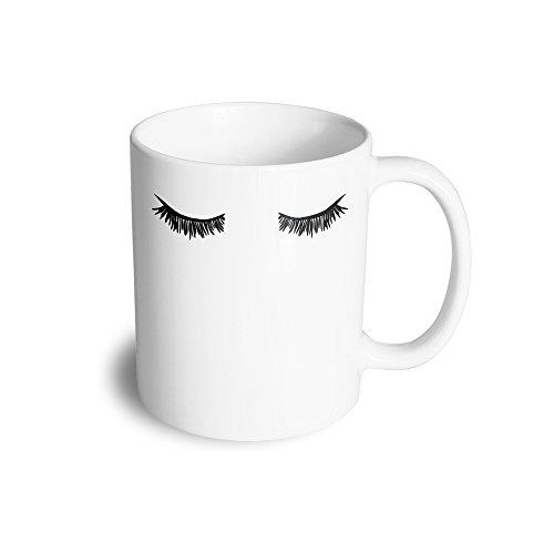 Eyelashes Mug Cute Fun Girly Feminine Funny Makeup Mascara Eyelin Ceramic Mug