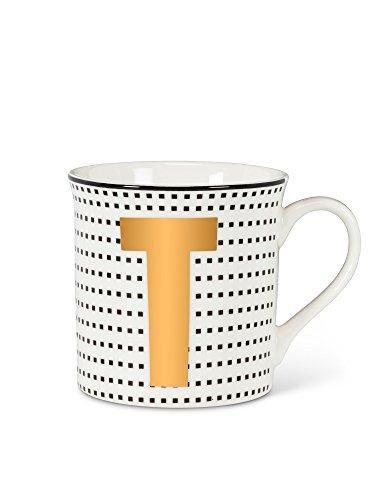 White Bone China Graphic Initial Letter T Mug 35 Height 12Oz