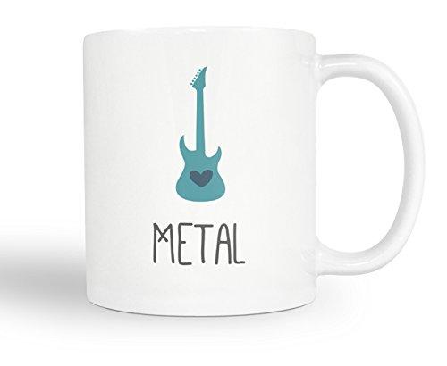 Metal Music Coffee Mug – Heart Electric Guitar Gift For Metal Head - 11oz White Blue Tea Cup