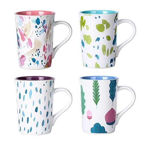 Pastoral Style Ceramic Mugs- Porcelain Vintage Floral Mug Set- 14 Ounce Latte Cups Set for Coffee Tea Cocoa Dishwasher And Microwave Safe