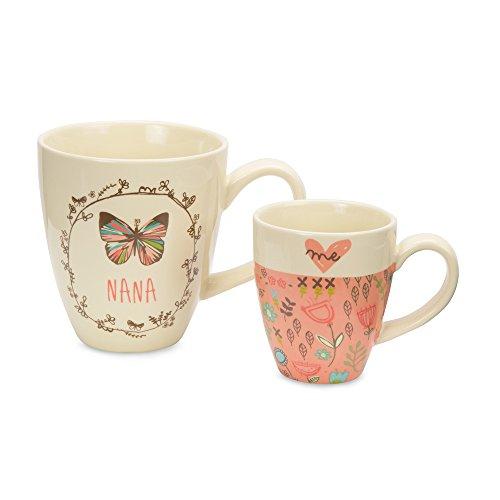 Pavilion Gift Company 54034 A Mothers Love-Mom Daughter Ceramic Coffee Tea Mug Set with Blue Floral Bird Designs Medium Pink