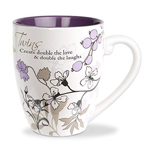 Pavilion Gift Company 66365 Purple Floral 20 Oz Tea Cup Coffee Mug Twins