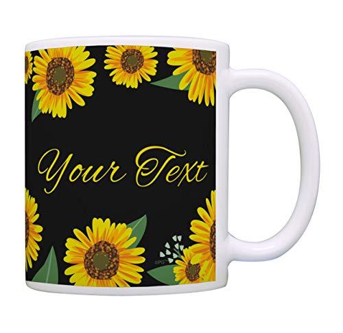 Yellow Floral Mug Your Text Customized Coffee Mug Personalized Gift Coffee Mug Tea Cup Sunflower
