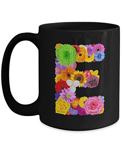 Floral Mugs for Women - Alphabet Coffee Mugs Flowers Black Ceramic – Letter E