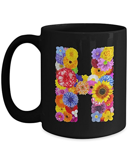Floral Mugs for Women - Alphabet Coffee Mugs Flowers Black Ceramic – Letter H