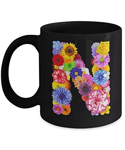 Floral Mugs for Women - Alphabet Coffee Mugs Flowers Black Ceramic – Letter N