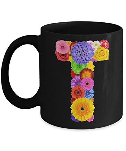 Floral Mugs for Women - Alphabet Coffee Mugs Flowers Black Ceramic – Letter T