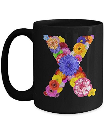 Floral Mugs for Women - Alphabet Coffee Mugs Flowers Black Ceramic – Letter X