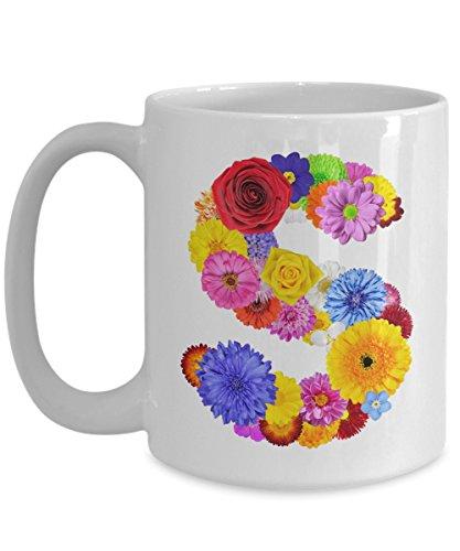 Floral Mugs for Women - Alphabet Coffee Mugs Flowers White Ceramic – Letter S