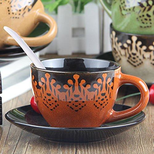 Creative hand-painted stoneware coffee mug set Blue Mountain coffee mug teacup-D