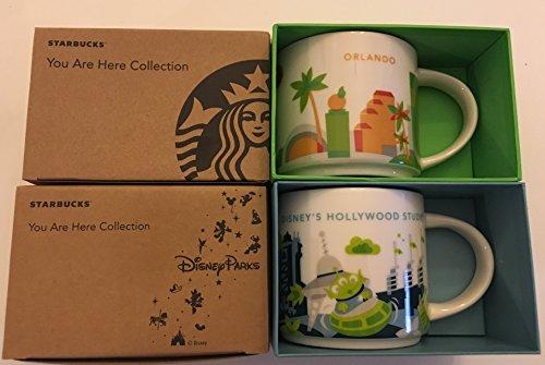 2 Mug Set Orlando  Disneys Hollywood Studios You Are Here YAH 14 OzStarbucks Mugs WBonus Blank Starbucks Card
