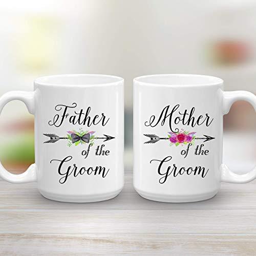 Mother and Father of the Groom Wedding Gift Mug Set 2 Large 15 oz Coffee Mugs