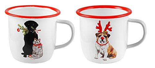 Naughty Not so Nice Cat Dog Holiday Enameled Mugs Set of 2